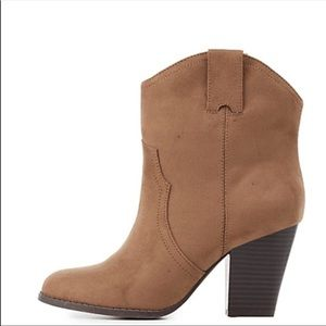 Shoes - Cute tan faux suede ankle  Booties Sz 9